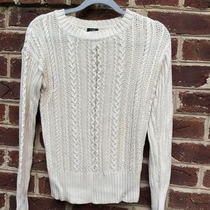 J. Crew Cream Cable Knit Long-Sleeve Sweater